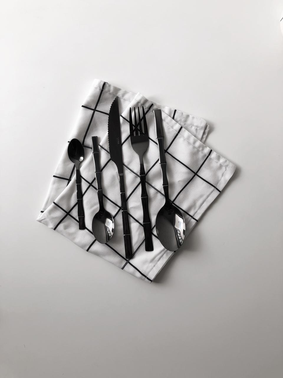 Kit Talheres Bambu Black - 5 Peças  - CASACOBRE