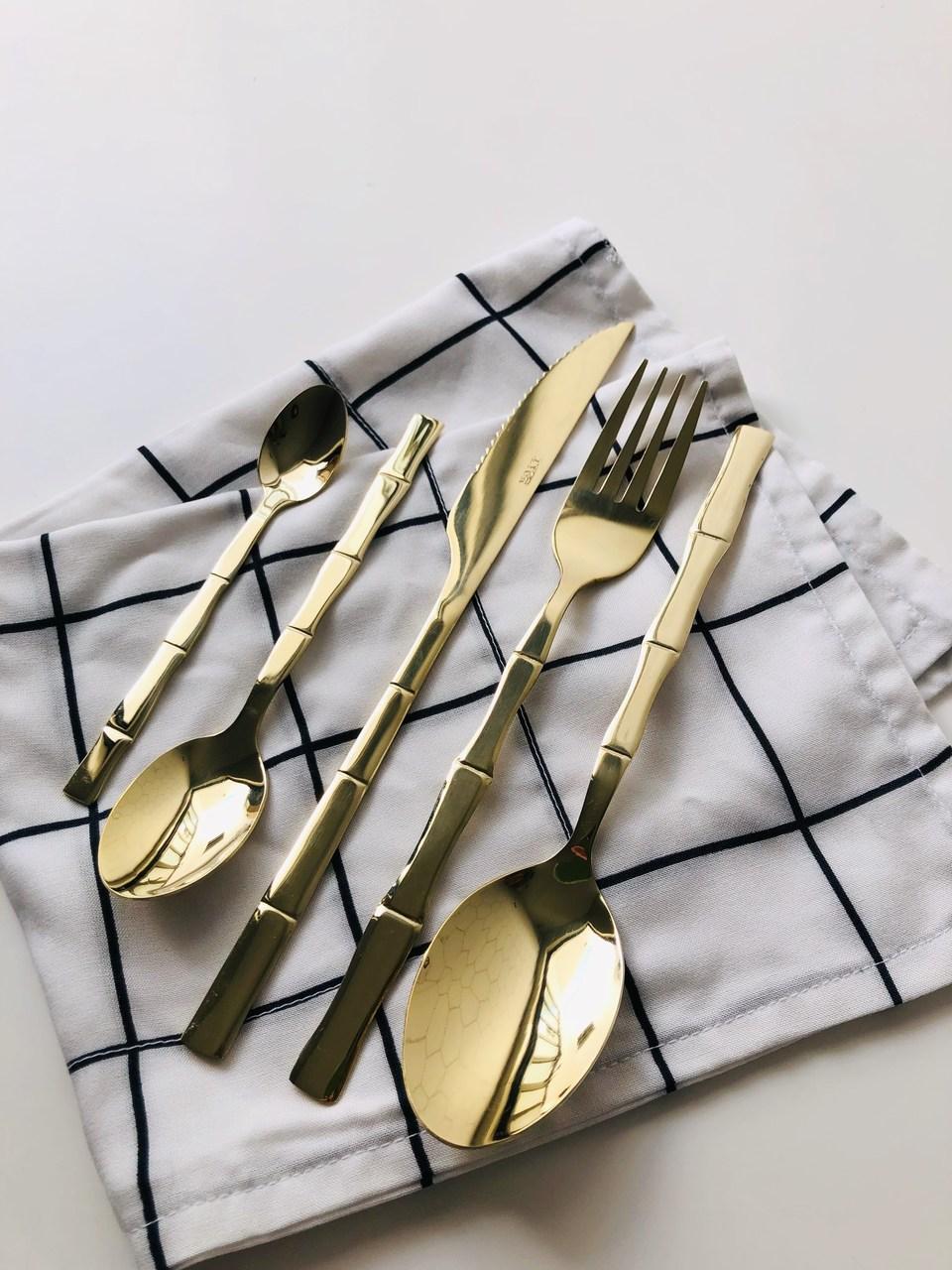Kit Talheres Bambu Gold - 5 Peças  - CASACOBRE