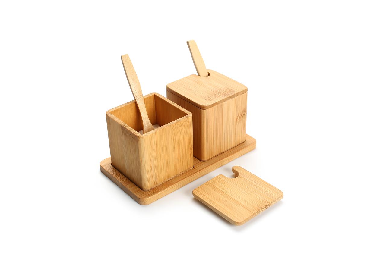 Porta Condimentos Duplo Bamboo  - CASACOBRE