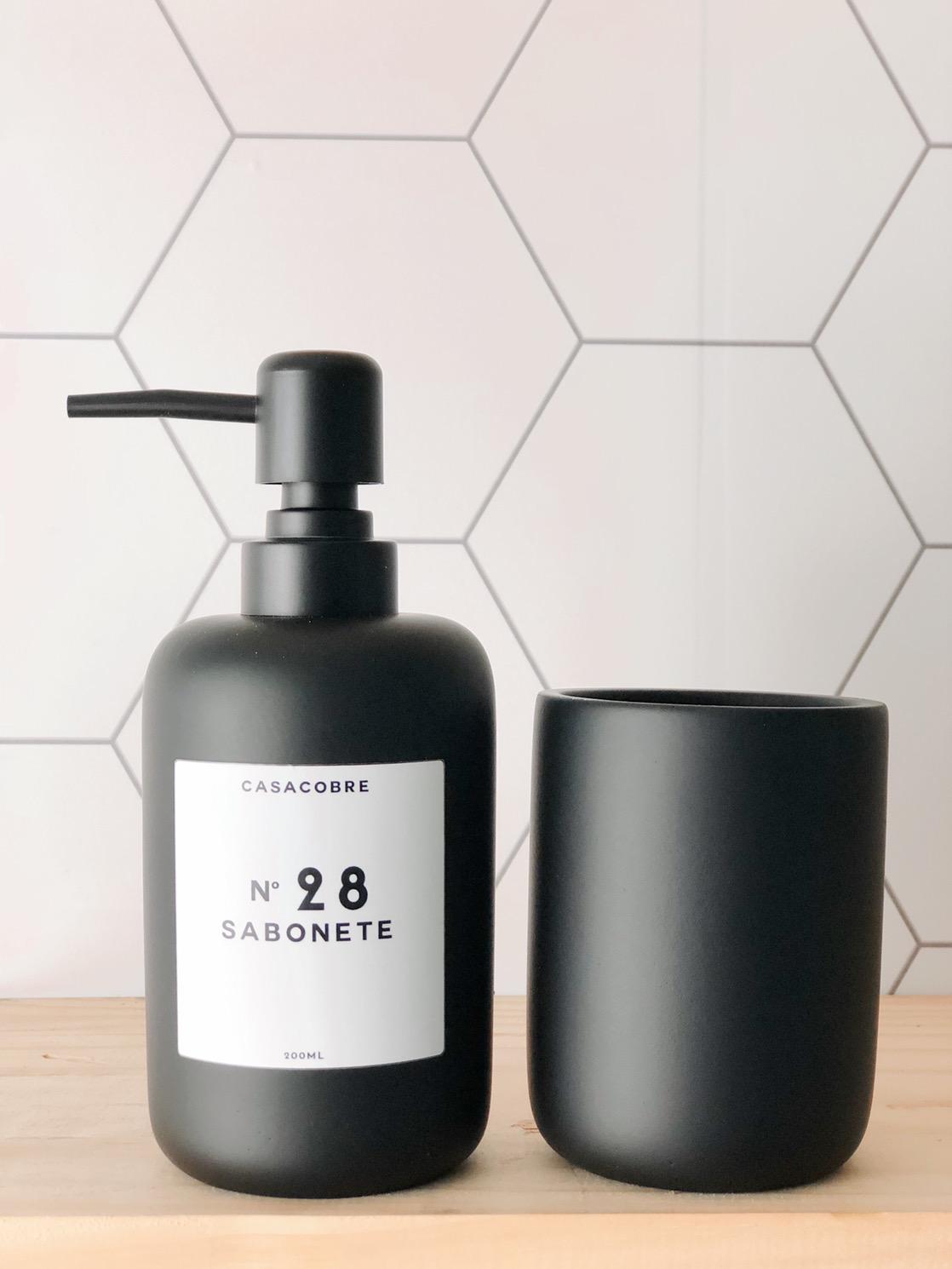 Porta Sabonete Líquido + Copo em Cimento - 2 Peças  - CASACOBRE