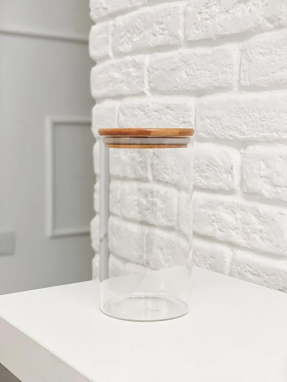Pote de Vidro com Tampa de Bambu - 1100ml  - CASACOBRE