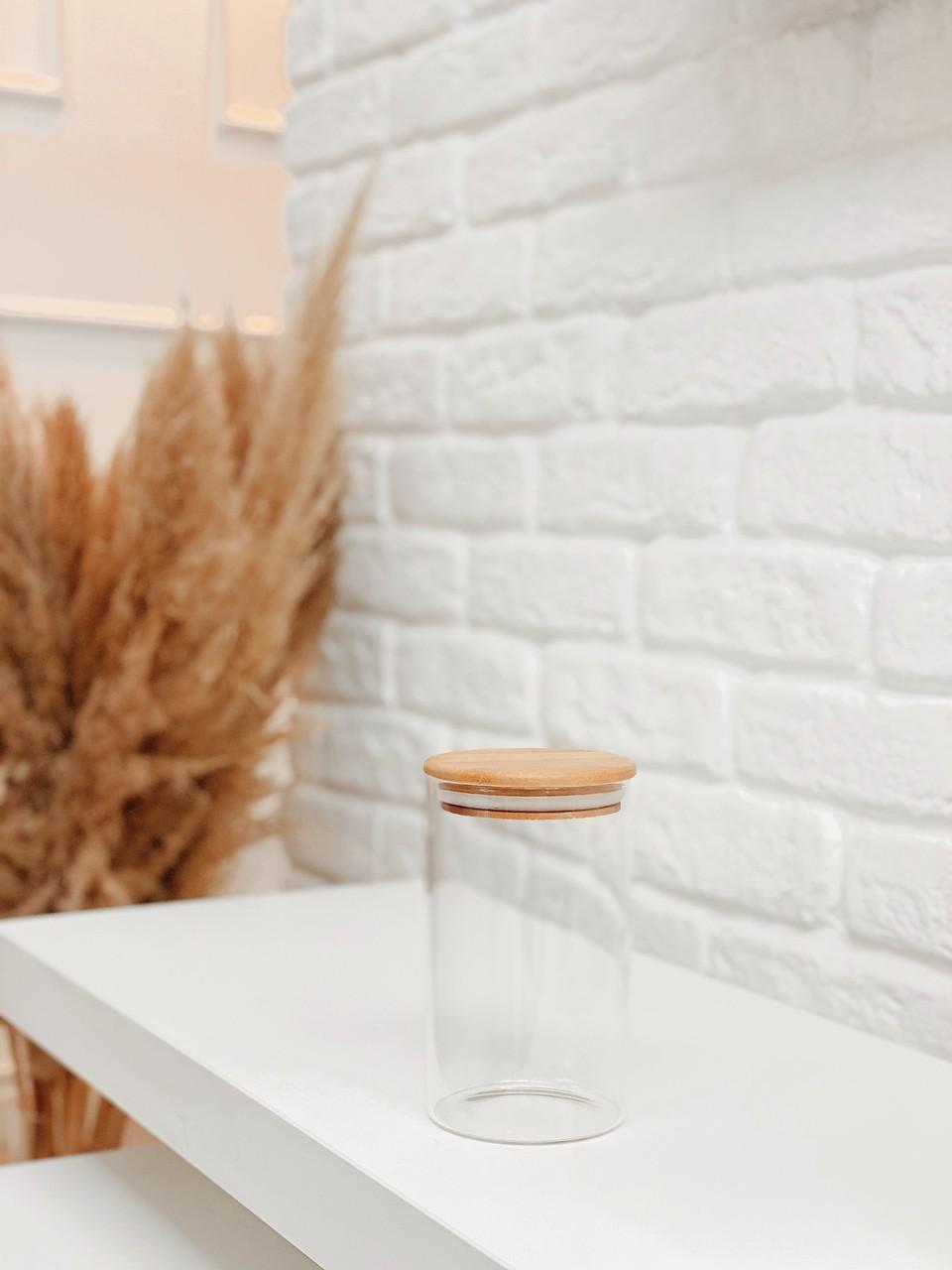 Pote de Vidro com Tampa de Bambu - Vários Tamanhos  - CASACOBRE