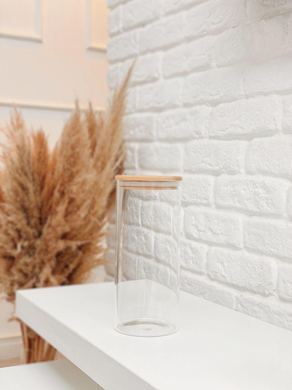Pote de Vidro com Tampa de Bambu - 1650ml  - CASACOBRE