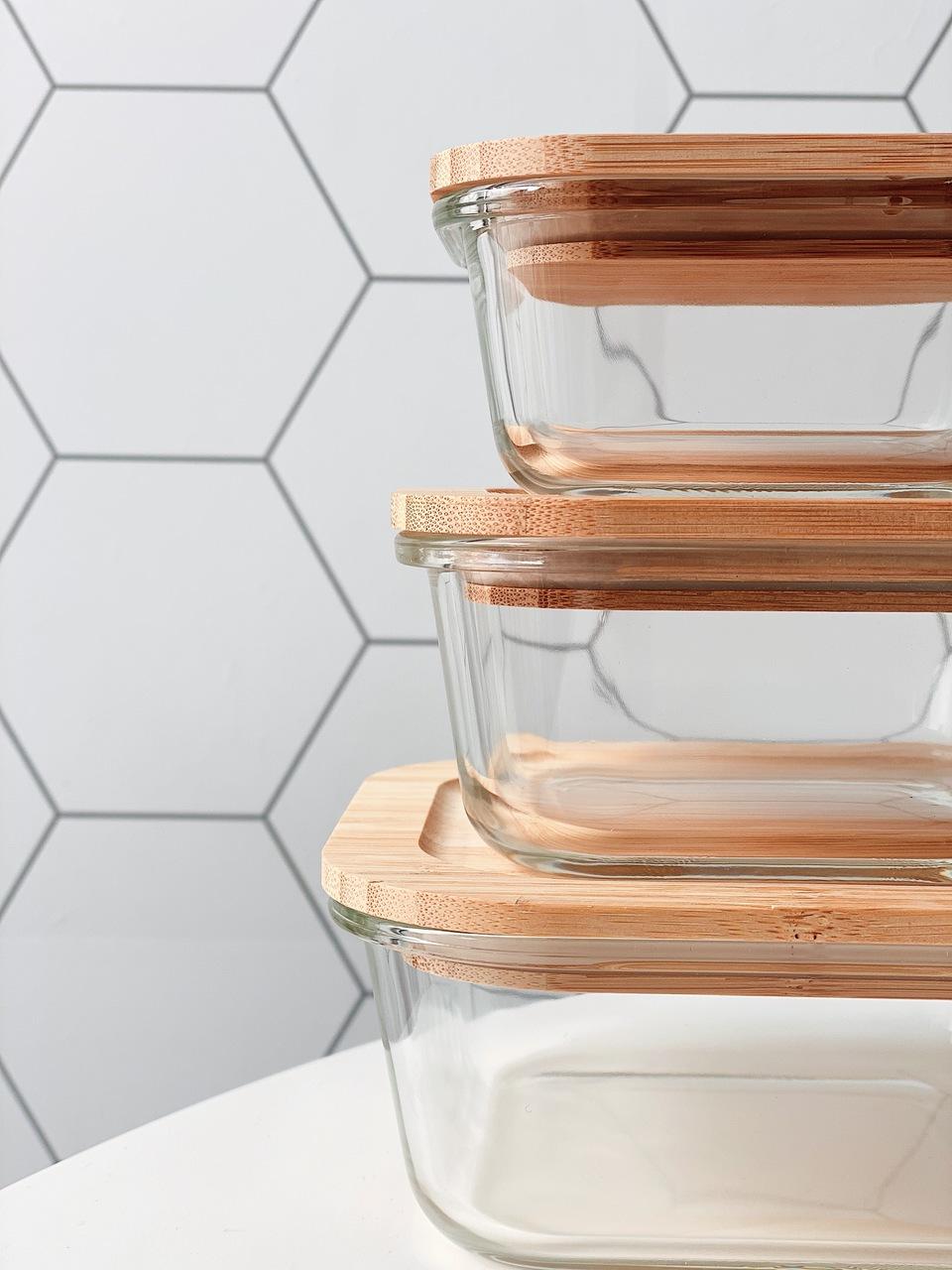 Pote de Vidro Quadrado com Tampa de Bambu - 320ml  - CASACOBRE