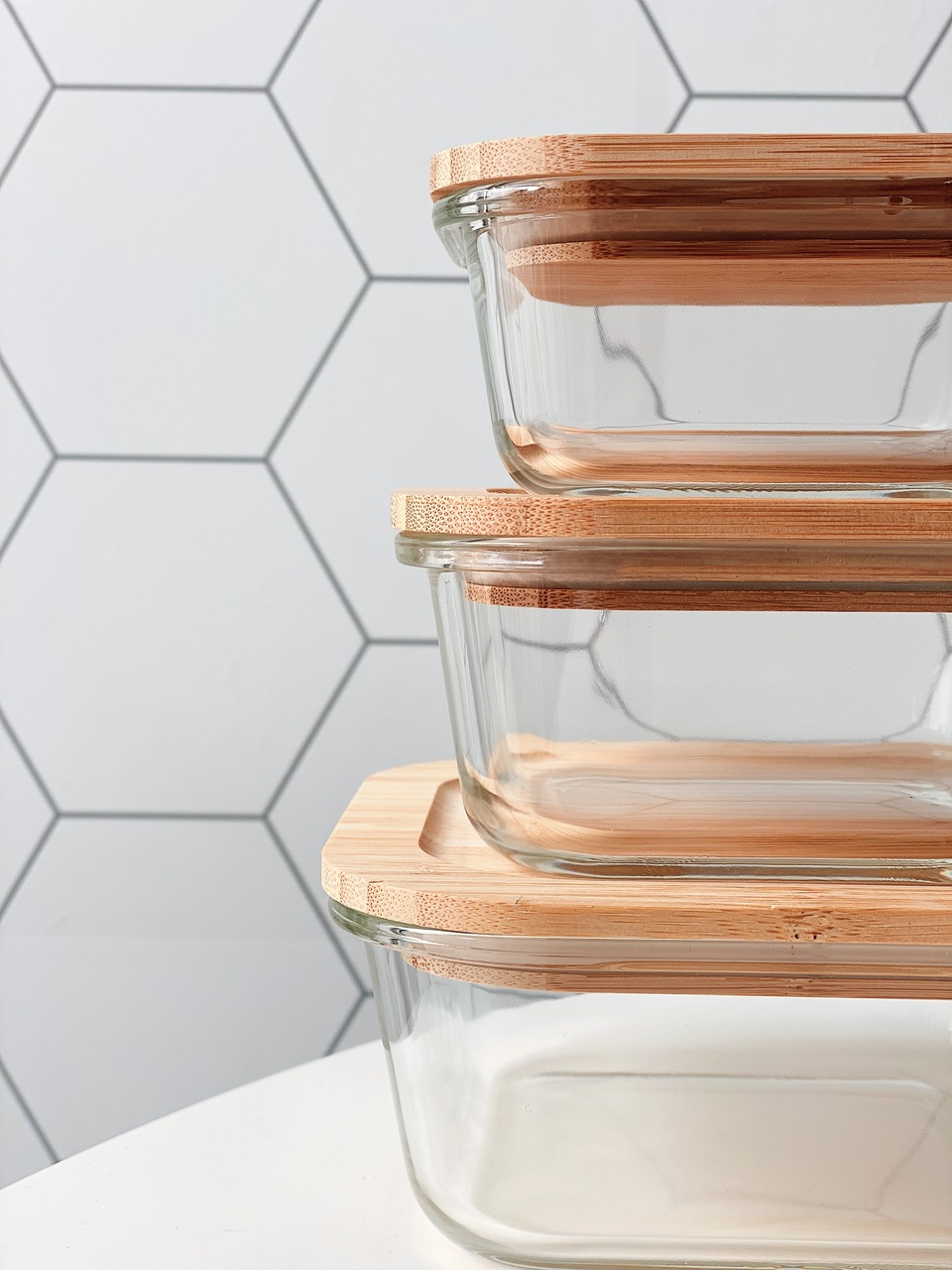 Pote de Vidro Quadrado com Tampa de Bambu - 800ml  - CASACOBRE