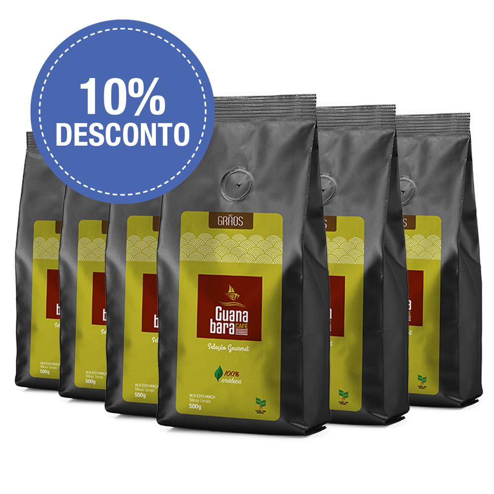 Kit Café Gourmet Guanabara grãos selecionados Sul De Minas Leve 6 pacotes 500g ganhe 10% desconto - Grãos