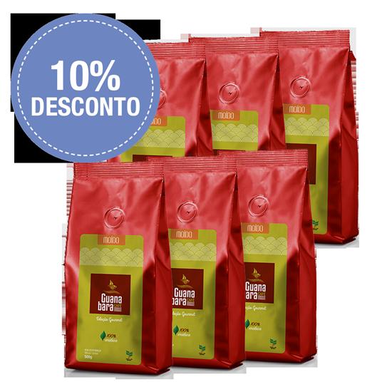 Kit Café Gourmet Guanabara grãos selecionados Sul De Minas Leve 6 pacotes 500g ganhe 10% desconto - Moído