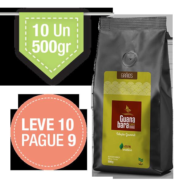 Kit Café Guanabara Grãos Selecionados Leve 10 pacotes de 500g pague 9 - 100% Arábica - Grãos