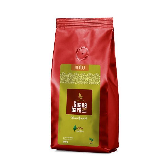 Kit Café Guanabara Grãos Selecionados Leve 10 pacotes de 500g pague 9 - 100% Arábica - Moído
