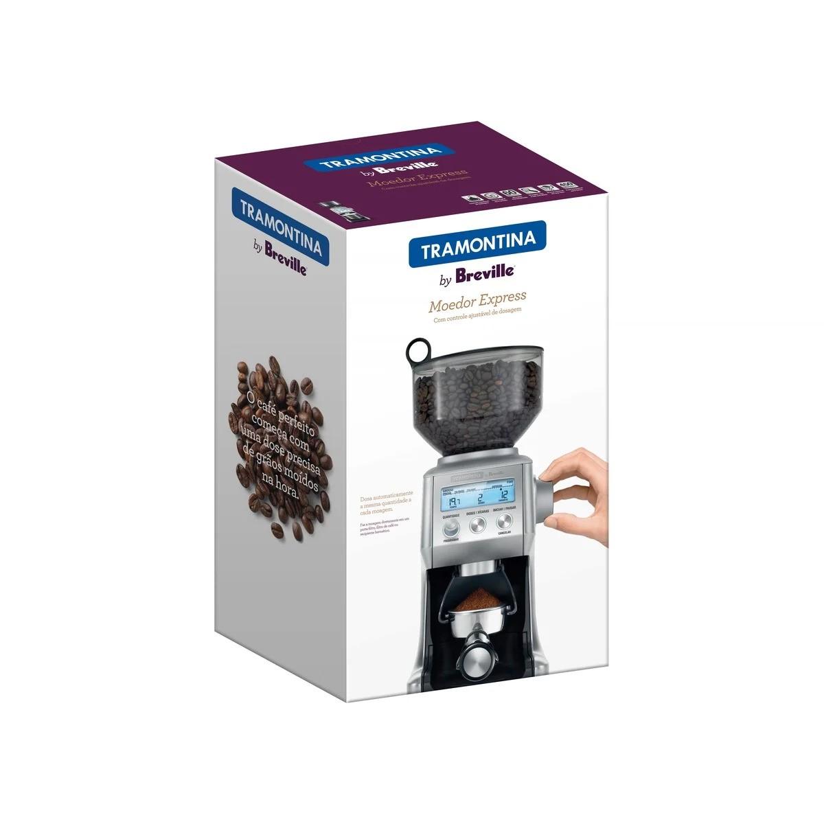 Moedor de Café Tramontina by Breville Express em Aço Inox 60 Níveis de Moagem 127 V Moinho