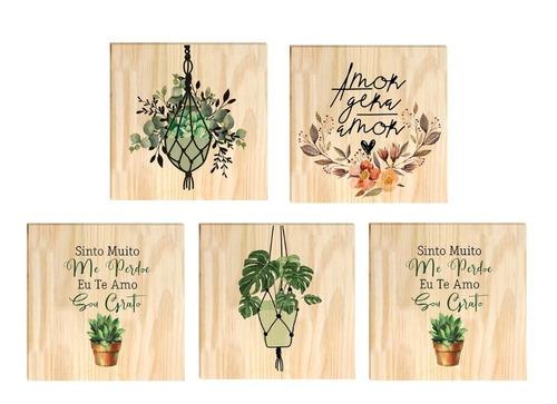 Conjunto De 5 Quadros De Pinus Decoração Casa Plantas Sala