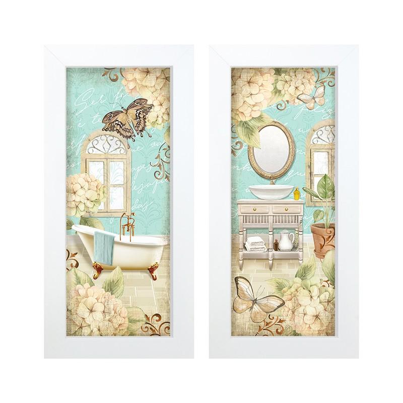 Dupla de Quadros Decorativo Banheiro Espelho 28x23