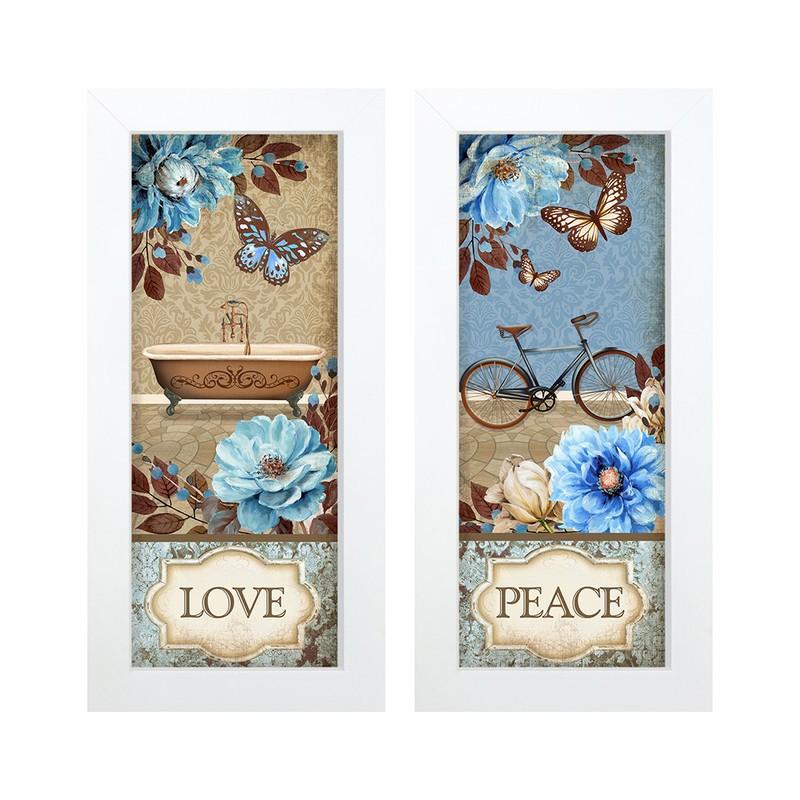 Dupla de Quadros Decorativo Banheiro Flores Paz  28x23