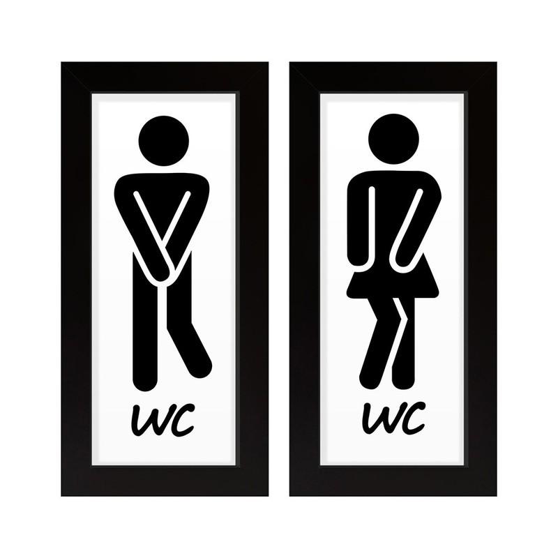 Dupla de Quadros Decorativo Banheiro Homem Mulher 28x23