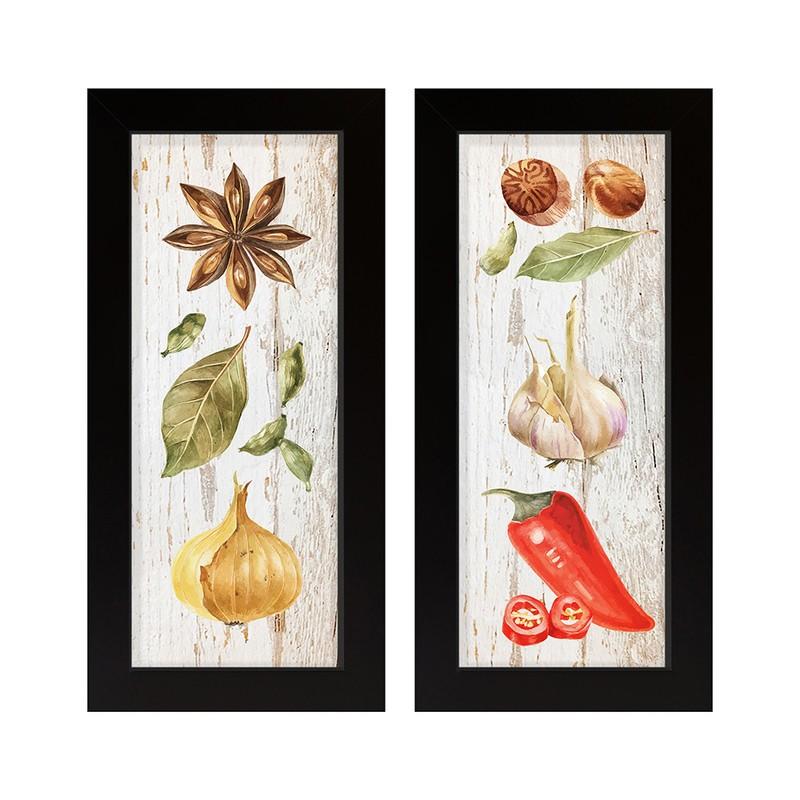Dupla de Quadros Decorativo Cozinha Temperos Natural 28x23