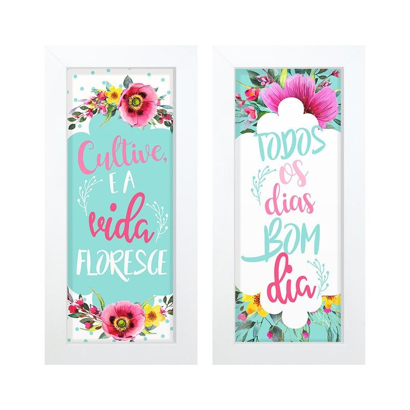 Dupla de Quadros Decorativo Cultive Vida Flores 28x23