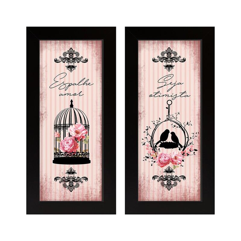 Dupla de Quadros Decorativo Espalhe Amor Flores 28x23