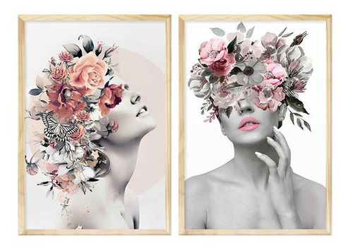 Dupla De Quadros Decorativo Feminino Abstrato Surreal 50x70