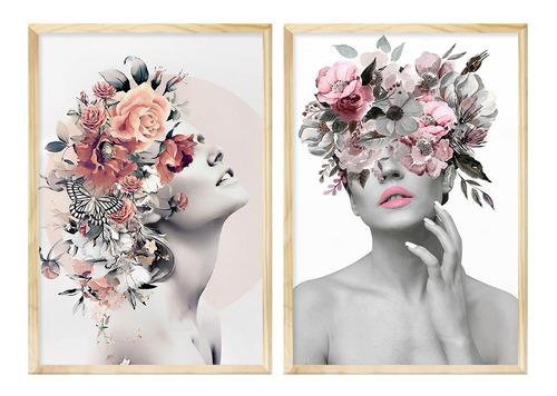 Dupla De Quadros Decorativo Feminino Abstrato Surreal Quarto 50x70