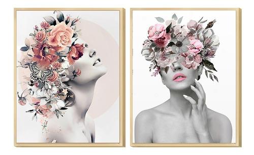 Dupla De Quadros Decorativo Feminino Abstrato Surreal Sala