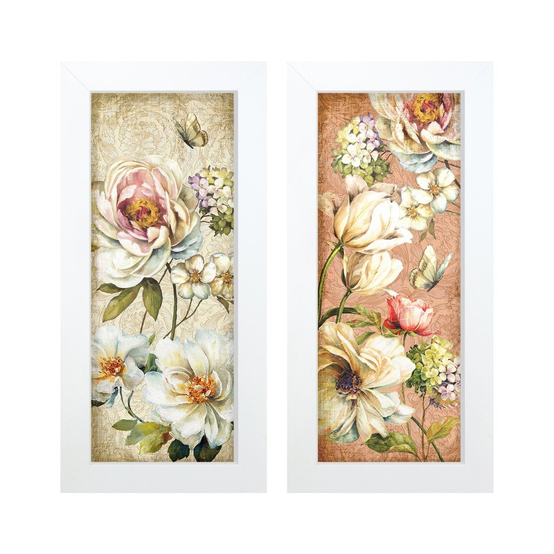Dupla de Quadros Decorativo Flores Jardim 28x23