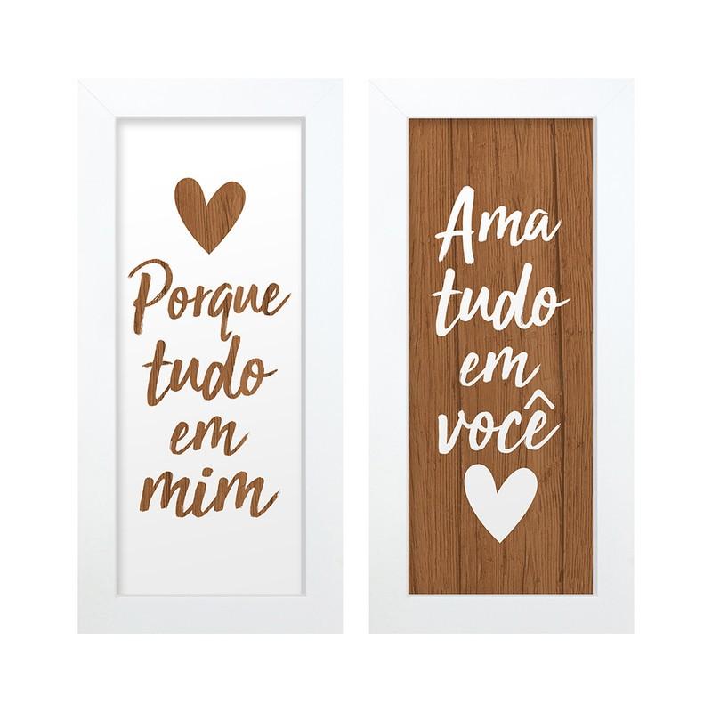 Dupla de Quadros Decorativo Frases Amor 28x23