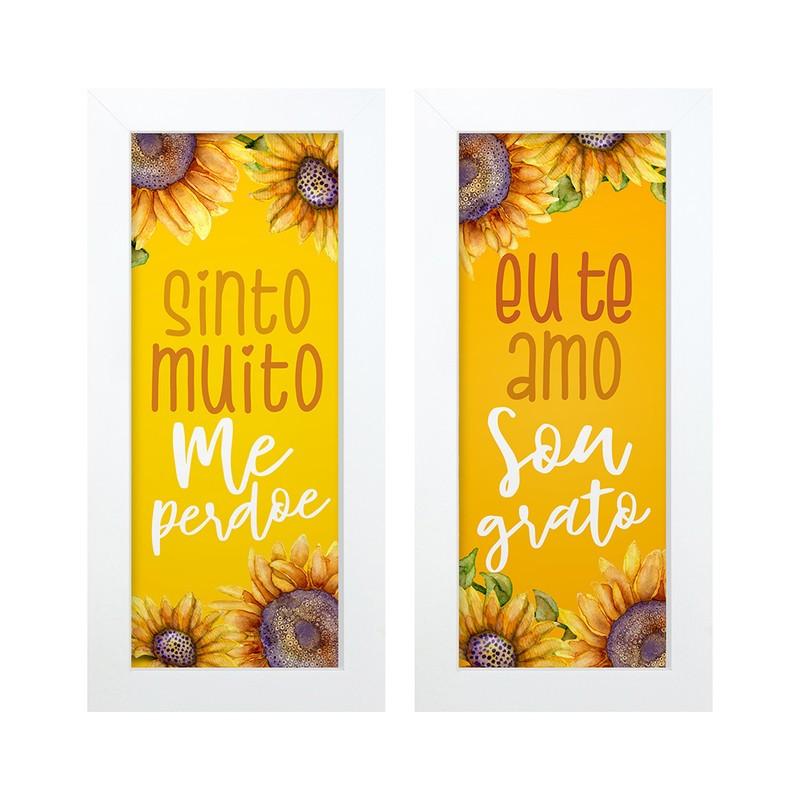 Dupla de Quadros Decorativo Frases Gratidão 28x23
