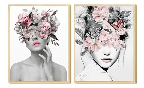 Dupla De Quadros Decorativo Mulher Abstrato Surreal Rose