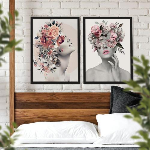 Dupla De Quadros Decorativo Mulher Floral Quarto Sala 40x60