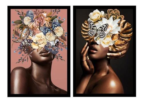 Dupla De Quadros Decorativo Mulher Flores Quarto Sala 40x60