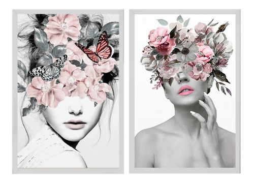 Dupla De Quadros Decorativo Mulher Flores Surreal 50x70