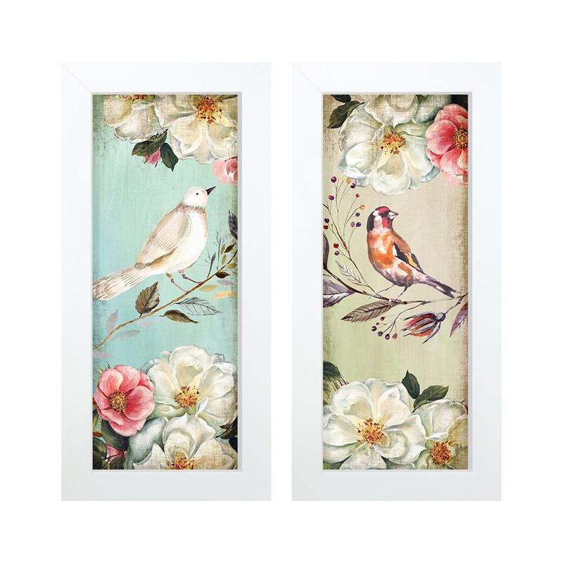 Dupla de Quadros Decorativo Pássaros Flores 28x23