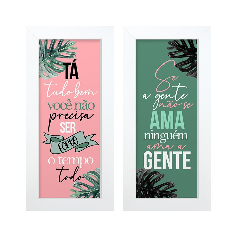 Dupla de Quadros Decorativo Se Ame Frases 28x23
