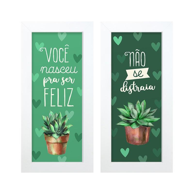 Dupla de Quadros Decorativo Ser Feliz Frases 28x23
