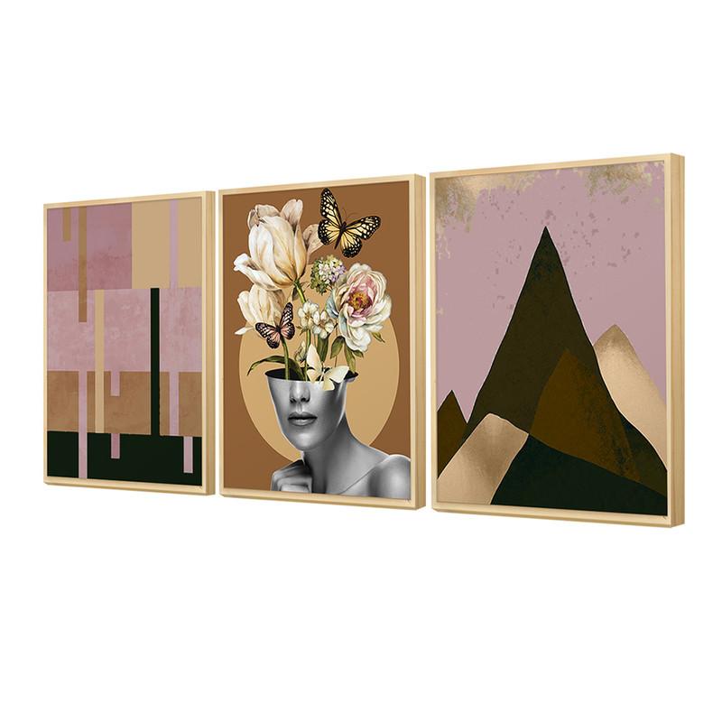 Kit3 Quadros Decorativos de Corredor Moldura Caixa 30x40cm Feminino Geométrico Rosa Floral - Hugart