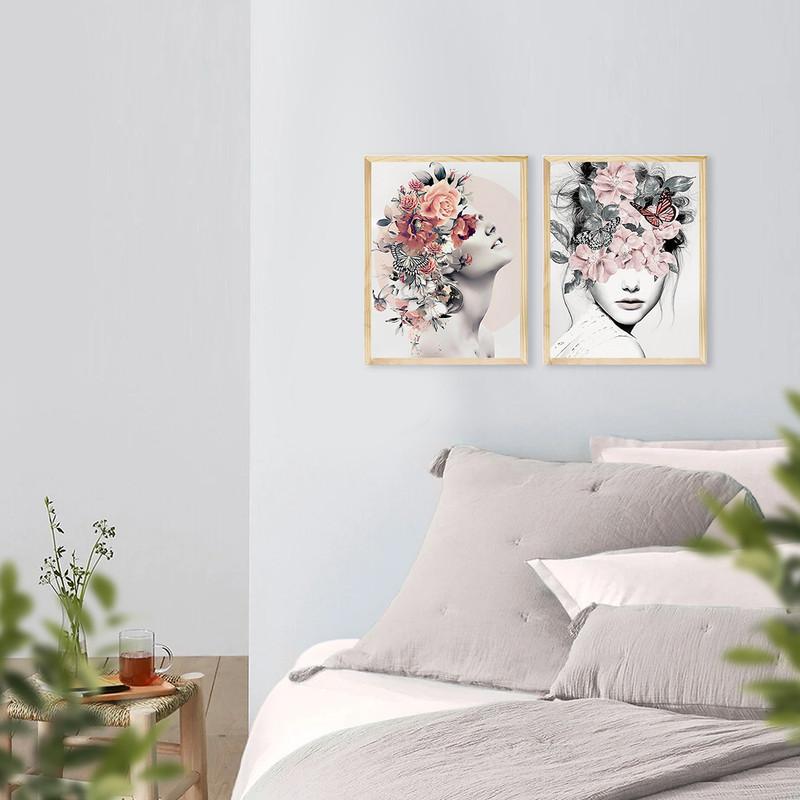 Kit 2 Quadros de Parede para Sala Decorativa 30x40cm Mulher Surreal Flores Abstrato - Hugart
