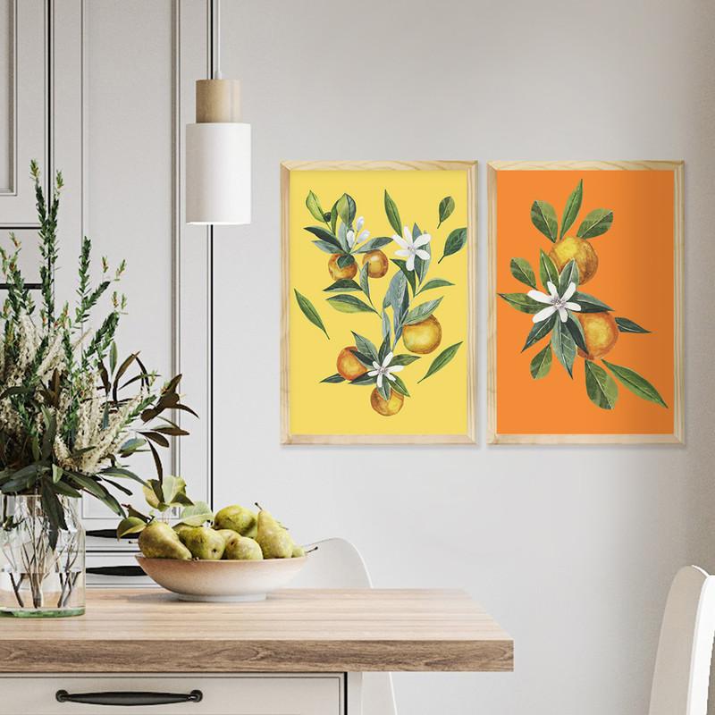 Kit 2 Quadros Decoração de Cozinha 43x63cm Moldura Pinus Folhagem e Frutas Colorido - Hugart