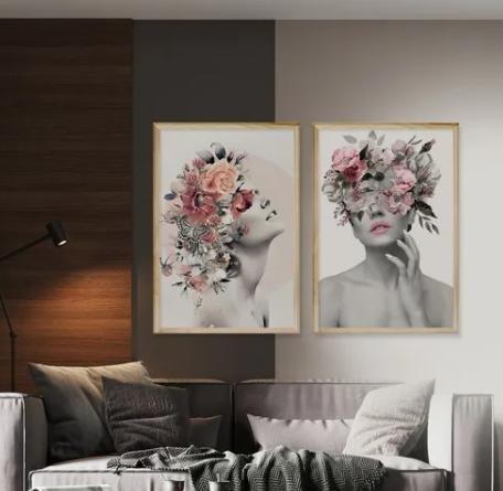Kit 2 Quadros Decorativo Cozinha e Sala 50x70cm Feminino Abstrato Surreal Moldura Pinus - Hugart