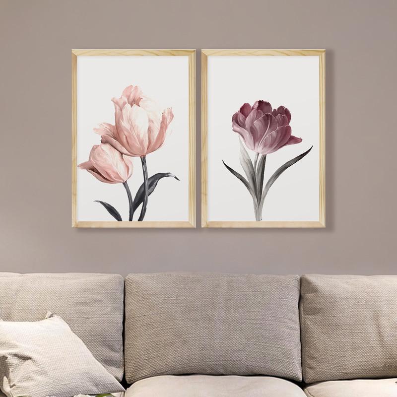 Kit 2 Quadros Decorativos 43x63cm Flores Rosas Quarto com Moldura - Hugart
