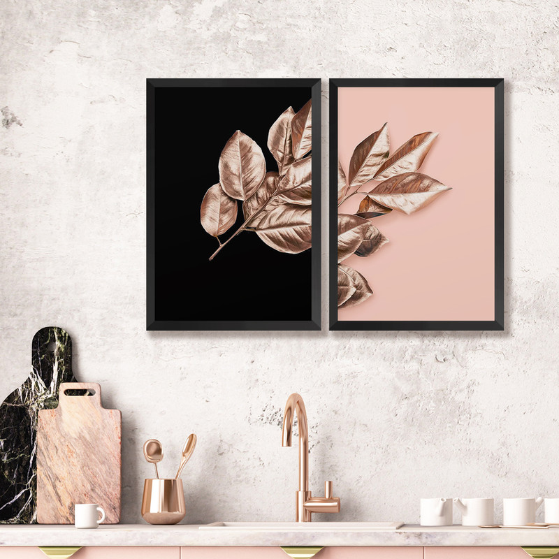 Kit 2 Quadros Decorativos 43x63cm Folhagem Rose Moderno Quarto Sala com Moldura Preta - Hugart