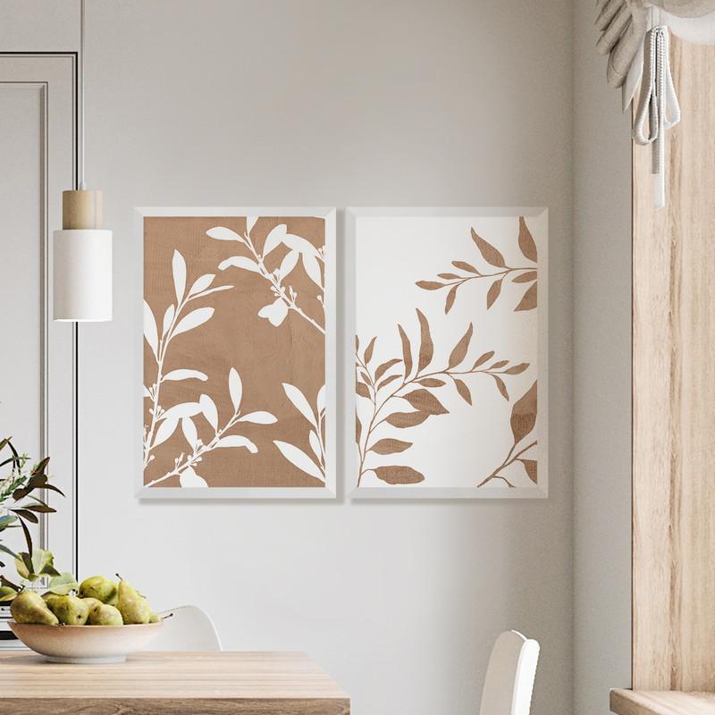 Kit 2 Quadros Decorativos 43x63cm Folhagens Delicado Sala Parede com Moldura Branca - Hugart