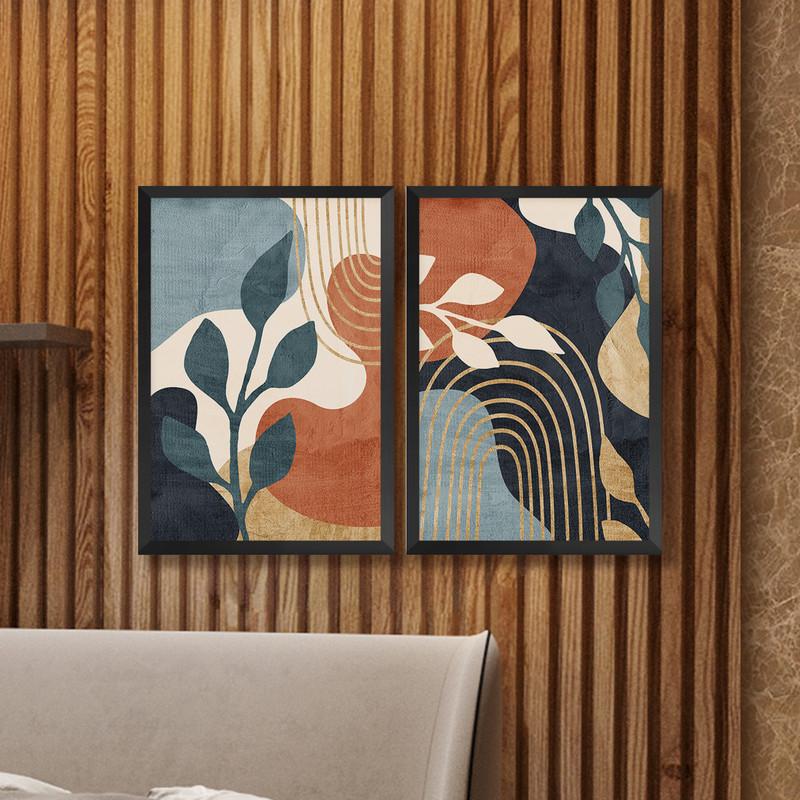 Kit 2 Quadros Decorativos 43x63cm Folhagens Moderno Sala com Moldura Preta - Hugart