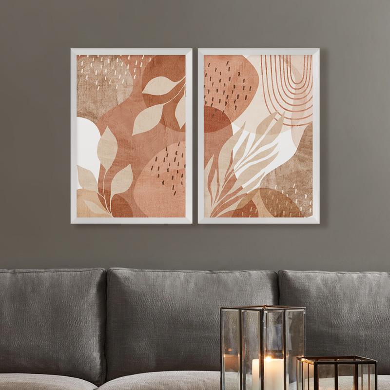 Kit 2 Quadros Decorativos 43x63cm Folhas Delicado Rose Sala Parede com Moldura Branca - Hugart