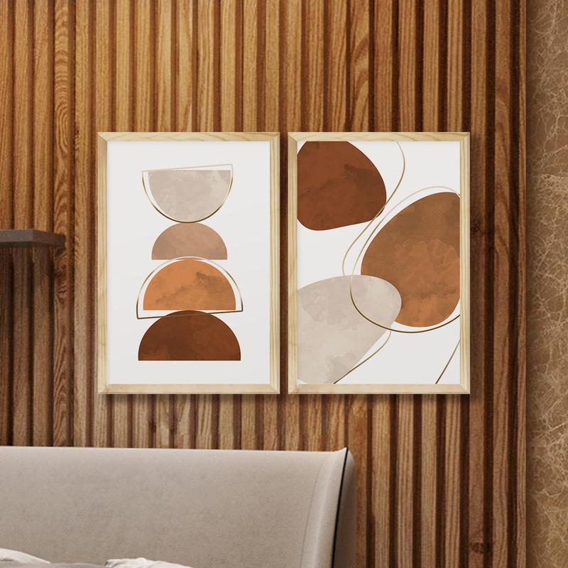 Kit 2 Quadros Decorativos 43x63cm Formas Geométricas Moderno com Moldura - Hugart