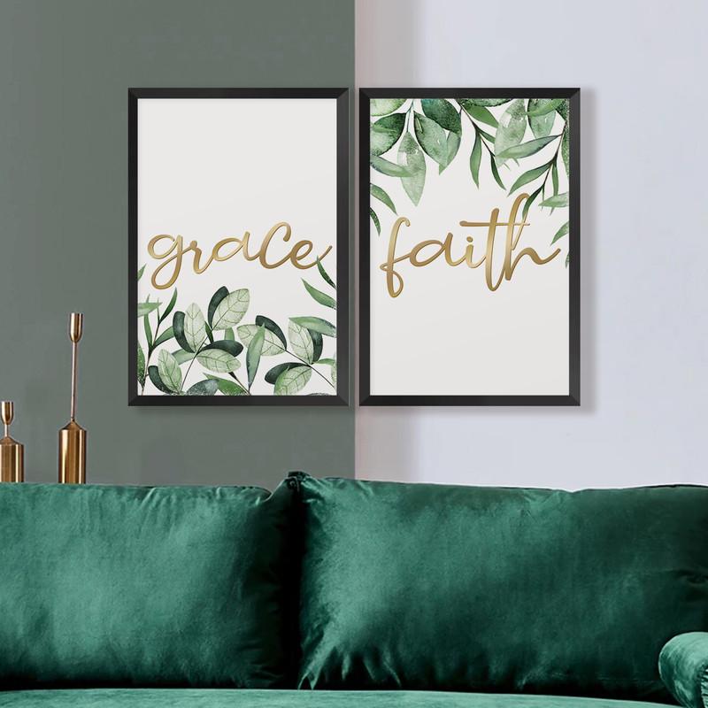 Kit 2 Quadros Decorativos 43x63cm Frases Folhas Dourado Quarto Parede com Moldura Preta - Hugart