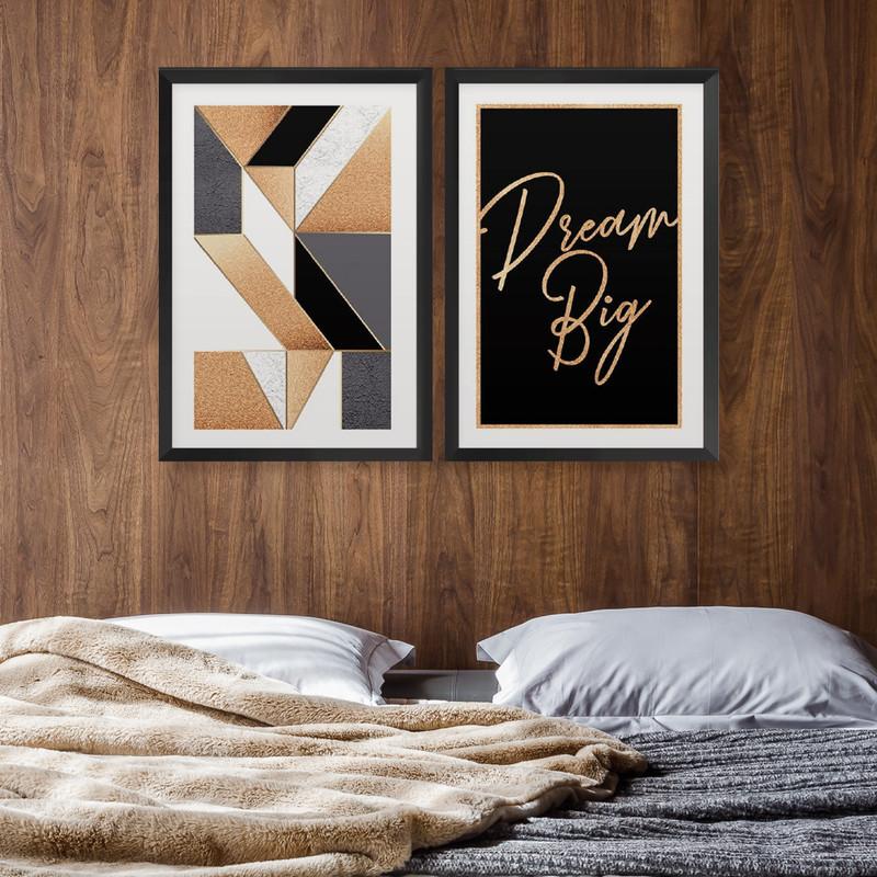 Kit 2 Quadros Decorativos 43x63cm Frases Geométrico Dourado Quarto com Moldura Preta - Hugart