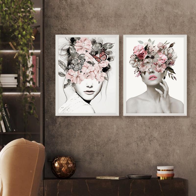 Kit 2 Quadros Decorativos 50x70cm Moldura Branca Mulher Flores Surreal Cor Abstrato - Hugart