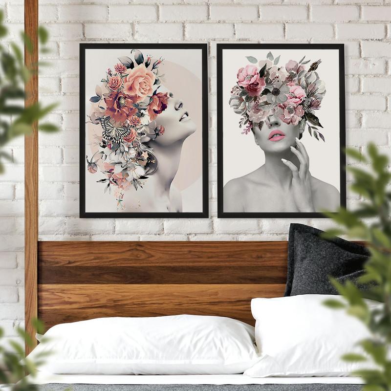 Kit 2 Quadros Decorativos para Quarto  50x70cm Feminino Surreal Flores Moldura Preta - Hugart