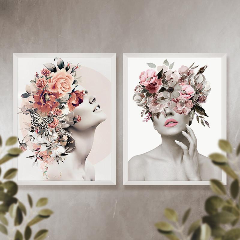 Kit 2 Quadros Decorativos para Quarto 50x70cm Moldura Branca Feminino Surreal - Hugart
