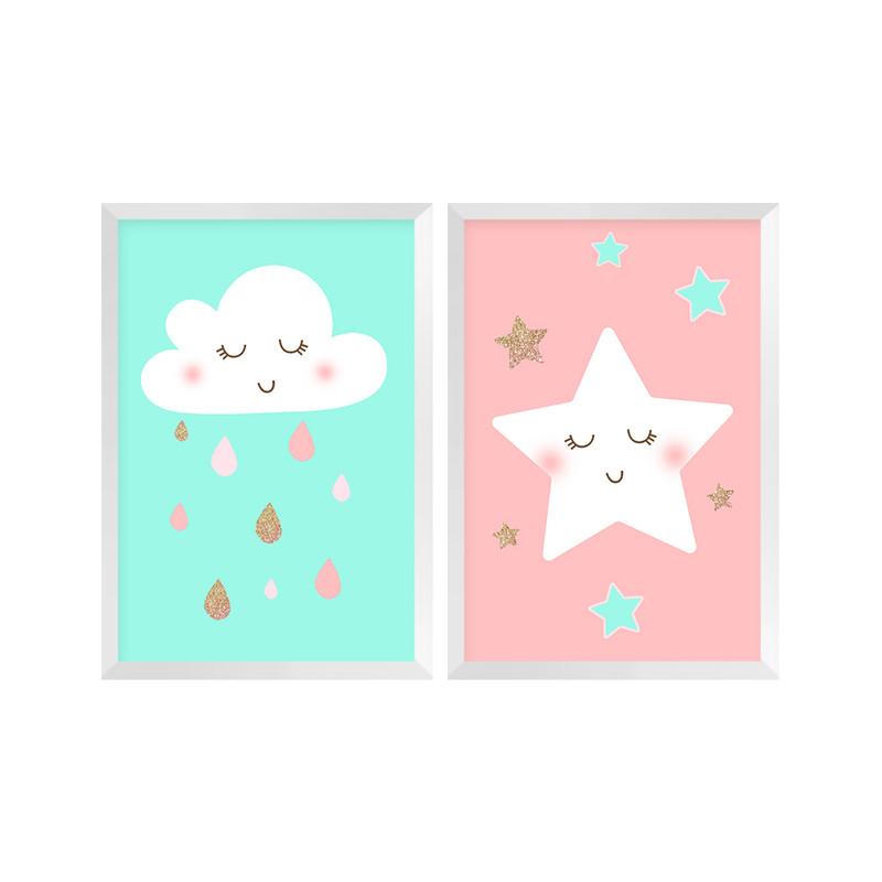 Kit 2 Quadros Decorativos Pequenos para Quarto de Crianças 30x40cm Céu Estrelas Infantil - Hugart